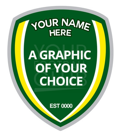 our football badge creator, out in club name and graphic of your choice