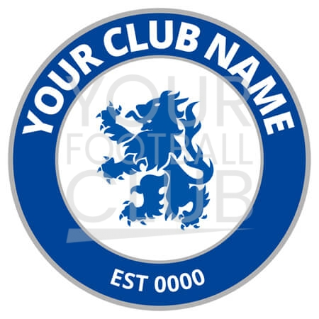 football badge creator FB013_Round_Blue_Silver
